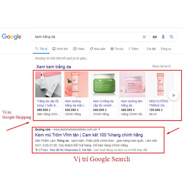 hiển thị quảng cáo google ads